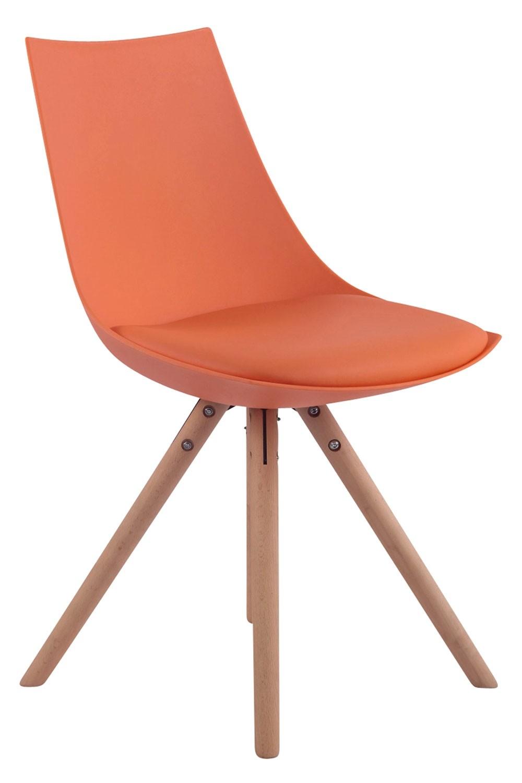 Esszimmerstuhl Albi Kunstleder Rund-orange-Natura (Eiche)