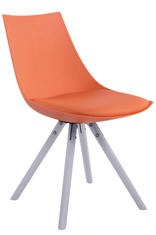 Esszimmerstuhl Albi Kunstleder Rund-orange-Weiß (Eiche)