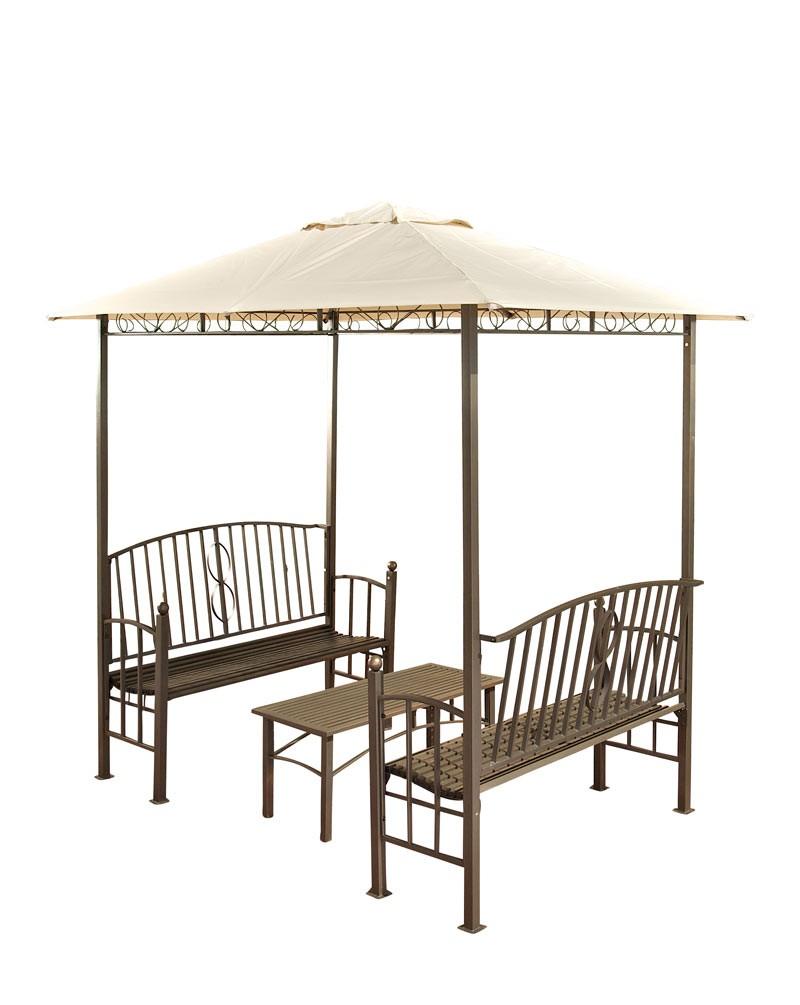 Paviljoen met 2 banken + tafel